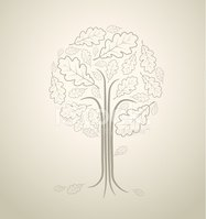 Vintage abstract tree drawing made from oak leafs