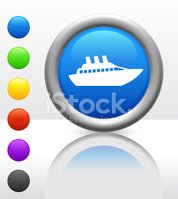cruise ship boat icon on internet button