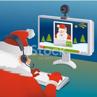 Santa Claus video conference with another one