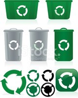 Recycling Symbols and Recycle Bins Set - Green, White, Gray