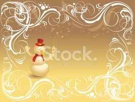 Ornate background with snowman