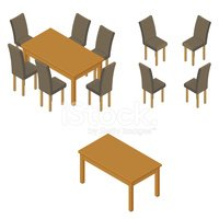 Table,Chair,Isometric,Furni...