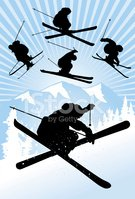 Skiing,Silhouette,Mountain,...