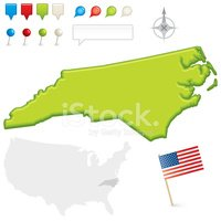 North Carolina,Map,Flag,Inf...