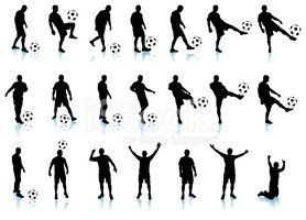 soccer/football detailed silhouette set