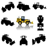 vector bulldozer silhouette set
