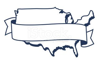 USA,Outline,Map,Banner,Blac...