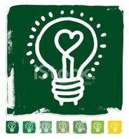 Light Bulb,Heart Shape,Gree...