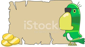 blank treasure map and pirate parrot with gold coins