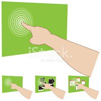 Touch Gesture Screen Interface - Right Hand almost behind view