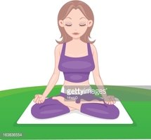 Yoga lady in purple clothes