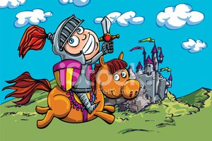 Cartoon,Knight,Horse,Castle...