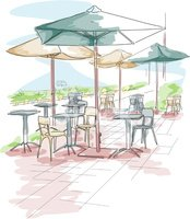 Cafe,Sketch,Outdoors,Dining...