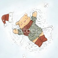 Bear,Ilustration,Snow Angel...