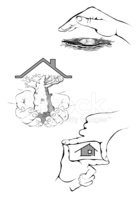 Human Hand,House,Care,Roof,...