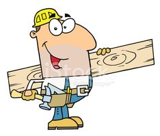 Construction Worker Carrying A Wood Board