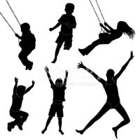 Child,Silhouette,Swing,Jump...