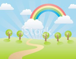 Cartoon,Rainbow,Landscape,C...