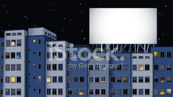 buildings and billboard at night