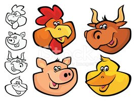 Pig,Animal Head,Rooster,Car...