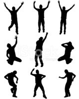 Silhouette,Men,Dancing,Chee...