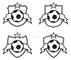 Soccer Ball emblem with Ribbon and Star