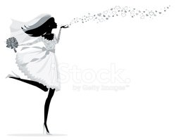 Bride Blowing Kisses Silhouette Stock Vectors Clipart Me