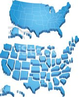 Map,USA,Three-dimensional S...