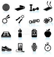 Fitness yoga and palates equipment black & white icon set