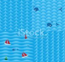 Wave,Seamless,Pattern,Whale...
