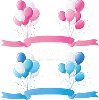 Pink, Blue Balloon and Banner Design Set