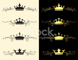 Crown,Ornate,In A Row,Vecto...