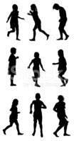 Child,Silhouette,Running,Li...
