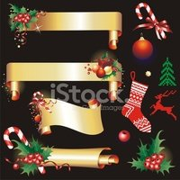 Christmas,Banner,Gold Color...