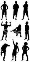 Silhouette,Flexing Muscles,...