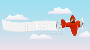Cartoon Red Plane With Pilot And Advertising Banner Clipart Images