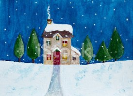 Snow,House,Winter,Window,Il...