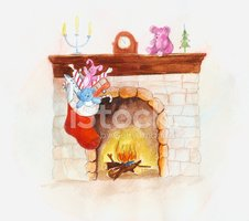 Fireplace,Christmas,Drawing...