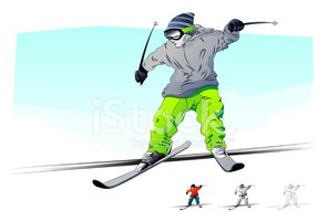 Skiing,Ski,Snow,Drawing - A...