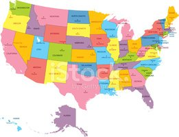 Map,USA,state,Vector,Color ...