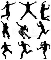 Silhouette,Jumping,Running,...