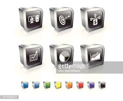 Business Model 3D icon set with Metal Rim