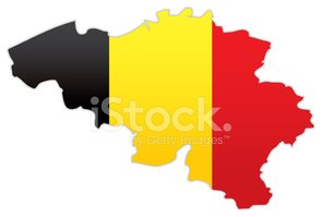 Belgium map with flag