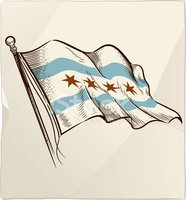 Flag,Chicago,Waving,Old-fa...