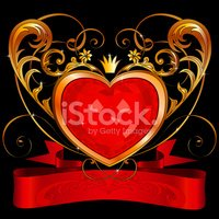 Ornate crystal heart with red classical banner