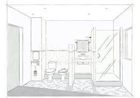 Domestic Bathroom,Sketch,In...