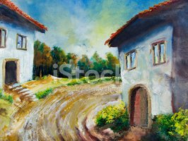 Painting,vilage,Rural Scen...