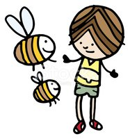 Bee,Child,Talking,Insect,On...