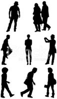 Silhouette,Men,Action,Afro,...