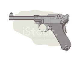 Vector illustration of German Semi-automatic pistol.
